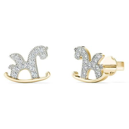 aaXia 10K Yellow Gold 1/10ct TDW Diamond Rocking Horse Stud Earrings White Gold Diamond Horse