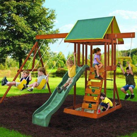 Kidkraft Meadowvale Ii Wooden Swing Set Walmart Com