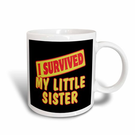 Design 24 Ounce Teapot - 3dRose I Survived My Little Sister Survial Pride And Humor Design, Ceramic Mug, 15-ounce