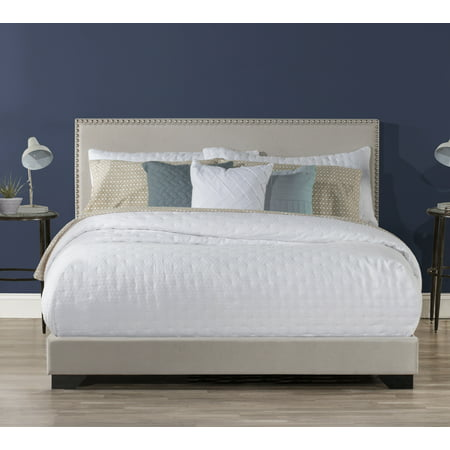 Hillsdale Willow Queen Nailhead Trim Upholstered Bed, Fog ()