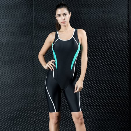 Women Professional Sports One Piece Swimsuit Swimwear Racing Competition Full Brief Knee Bathing Suit Black/Royal Blue/Dark Blue
