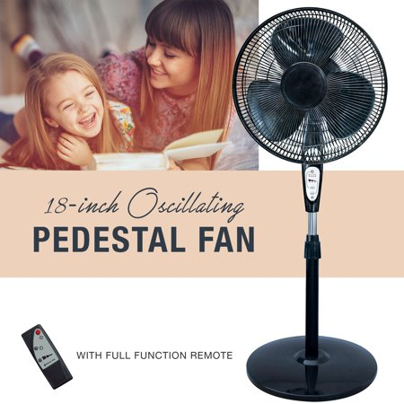 3 Speed Fan Control (3 Speed Oscillating 18 Inch Pedestal Fan with Remote Control, Adjustable Tilt with Metal Grilles,)