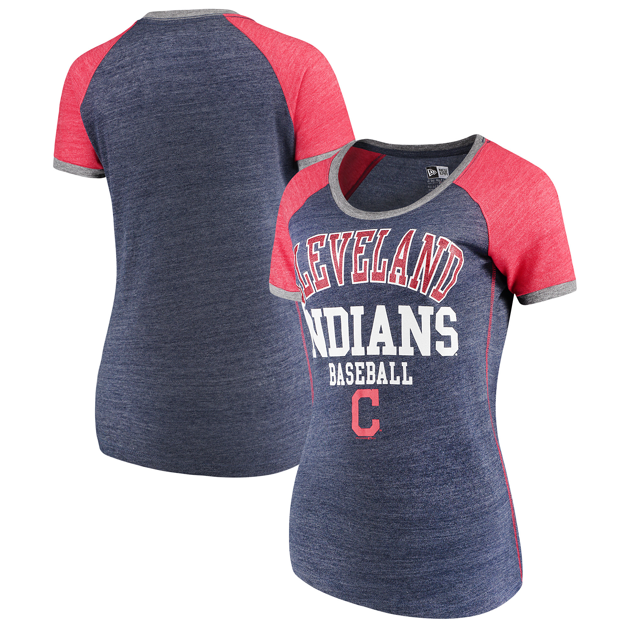 Cleveland Indians 5th & Ocean by New Era Women's Jersey Tri-Blend Raglan T-Shirt - Navy