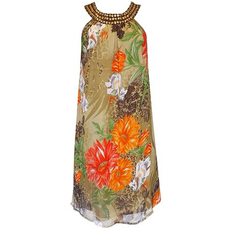 Peach Couture Women's Sleeveless Graphic Print Swing Dress (Olive, X-Large)