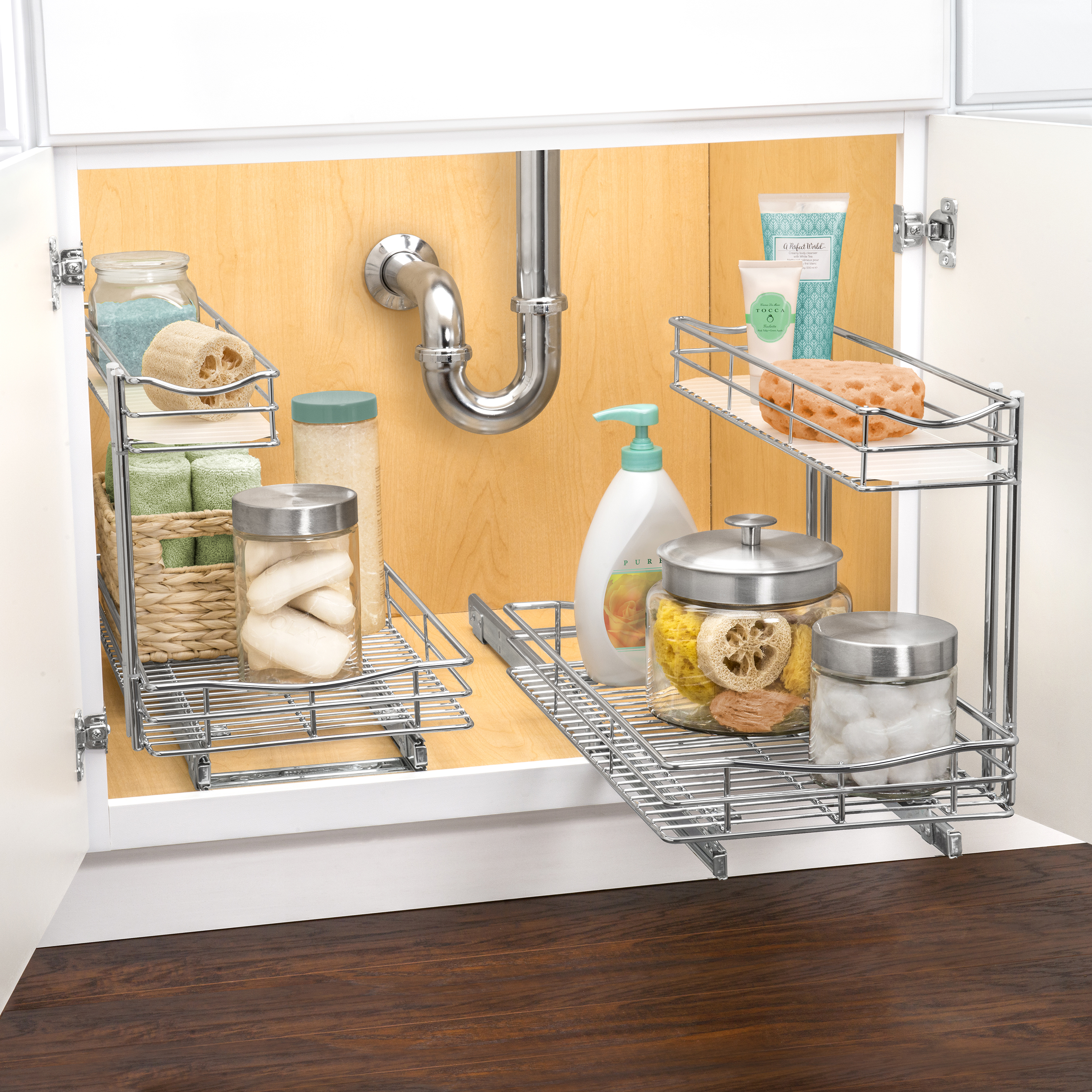 Lynk Professional Roll Out Under Sink Cabinet Organizer, Pull Out Two Tier  Sliding Shelf,