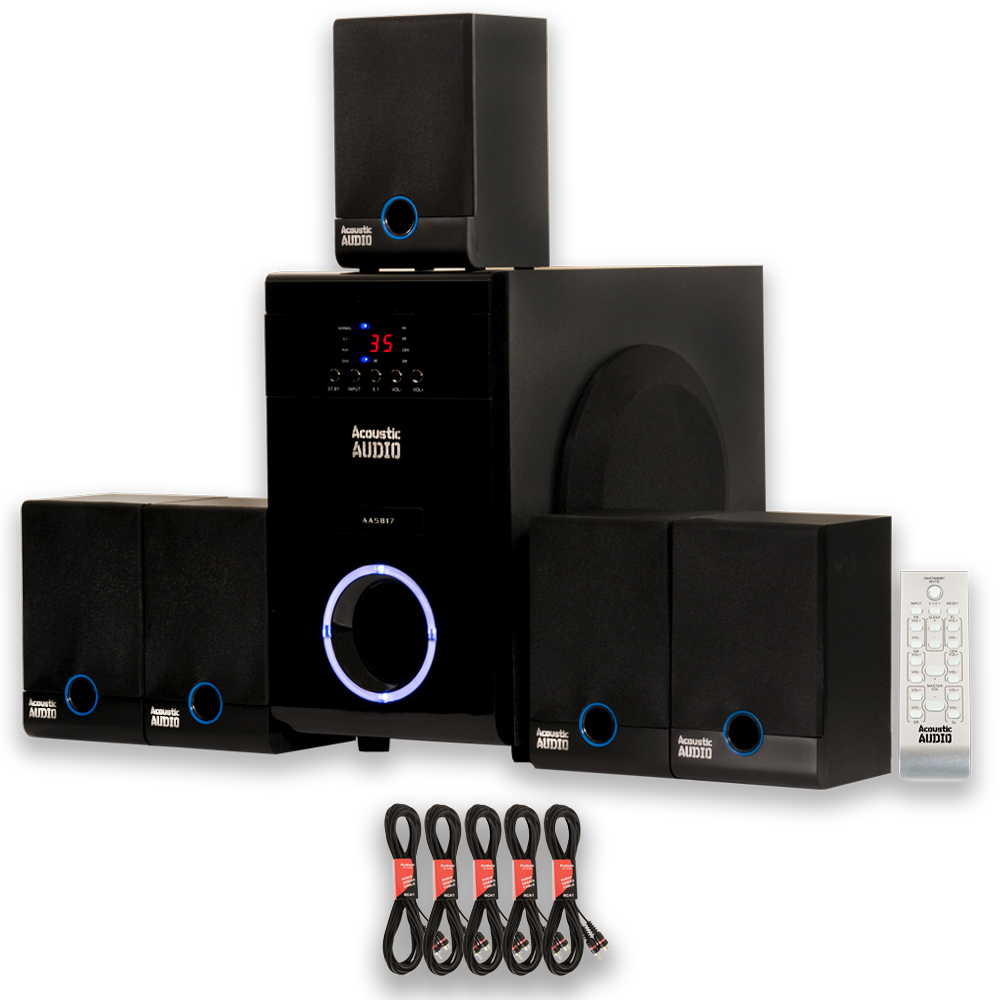 Acoustic Audio AA5817 Home 5.1 Speaker System 800W with 5 Extension Cables AA5817-5