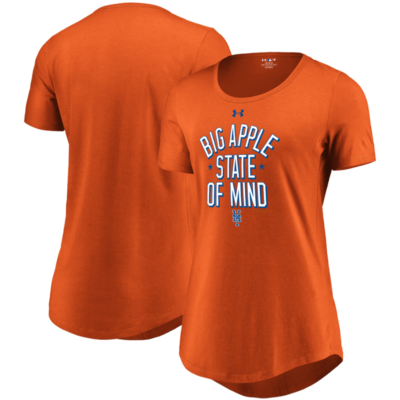 New York Mets Under Armour Women's Passion State of Mind Performance Tri-Blend T-Shirt - Orange