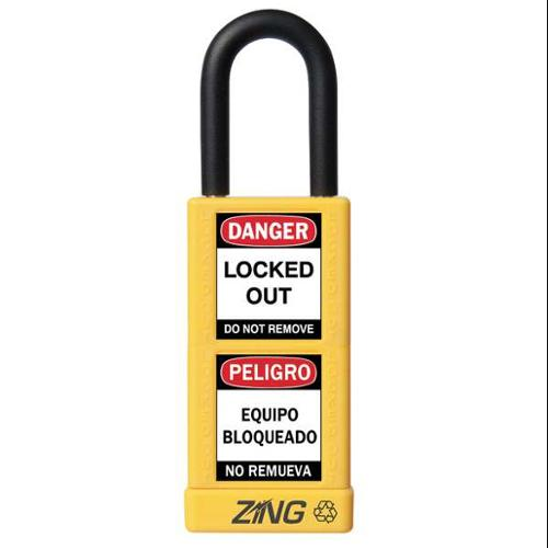 ZING 7078 Lockout Padlock, KD, Yellow, 1/4 In. Dia.