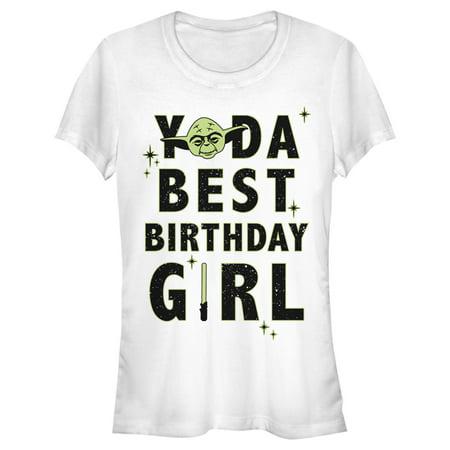 Junior's Star Wars Yoda Best Birthday Girl Graphic Tee White Medium