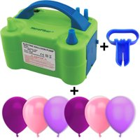 Electric Balloon Pump w/Tying Tool and 90 Balloons, 12 inch, 3 Colors - 30 Plum, 30 Pink, and 30 Lavender. Lightweight Inflator has Two Nozzles to Make Blowing Quick and Easy