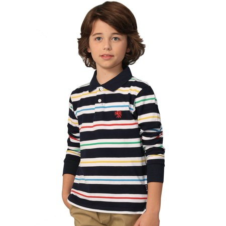 Leo&Lily Boys' Long Sleeves Striped Cardigan Rugby Polo Shirt NAVY](Navy Blue Suits For Boys)