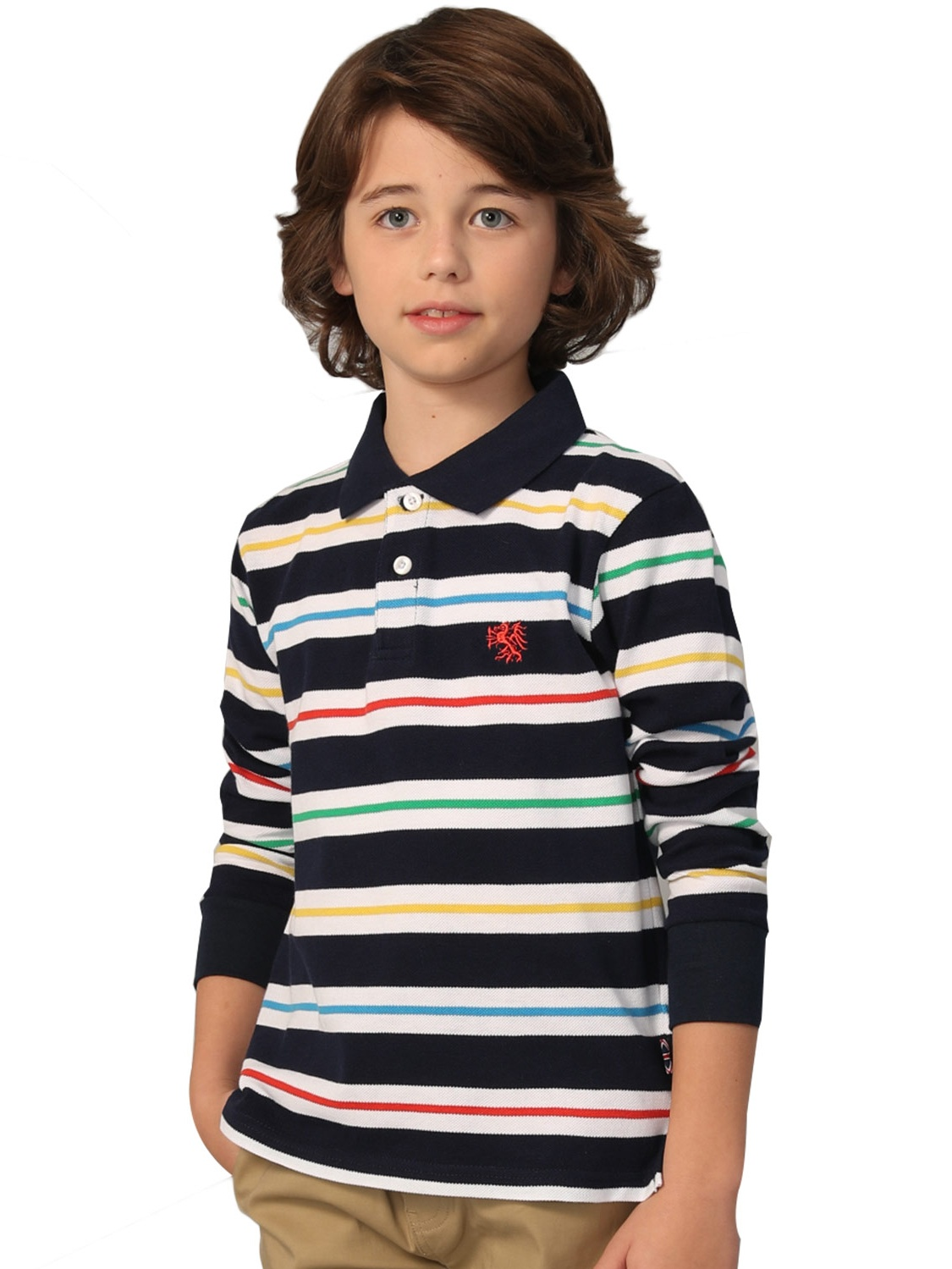 Leo&Lily Boys' Long Sleeves Striped Cardigan Rugby Polo Shirt NAVY