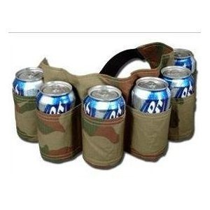 6 Pack Beer & Soda Can Holster Belt - Camoflauge, CAMOFLAUGE IN COLOR By Belt Holster Ship from