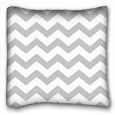 WinHome Standard Pillowcase Decorative Grey White Chevron Stripes Pillow Cases Size 18x18 Inches Two Side Print