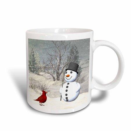 3dRose Cardinal And Snowman In Winter, Ceramic Mug, - Winter Mugs