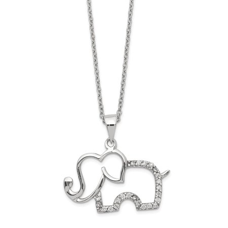 - 23.97mm Cheryl M Sterling Silver Cubic Zirconia Elephant Necklace - 18.25 Inch