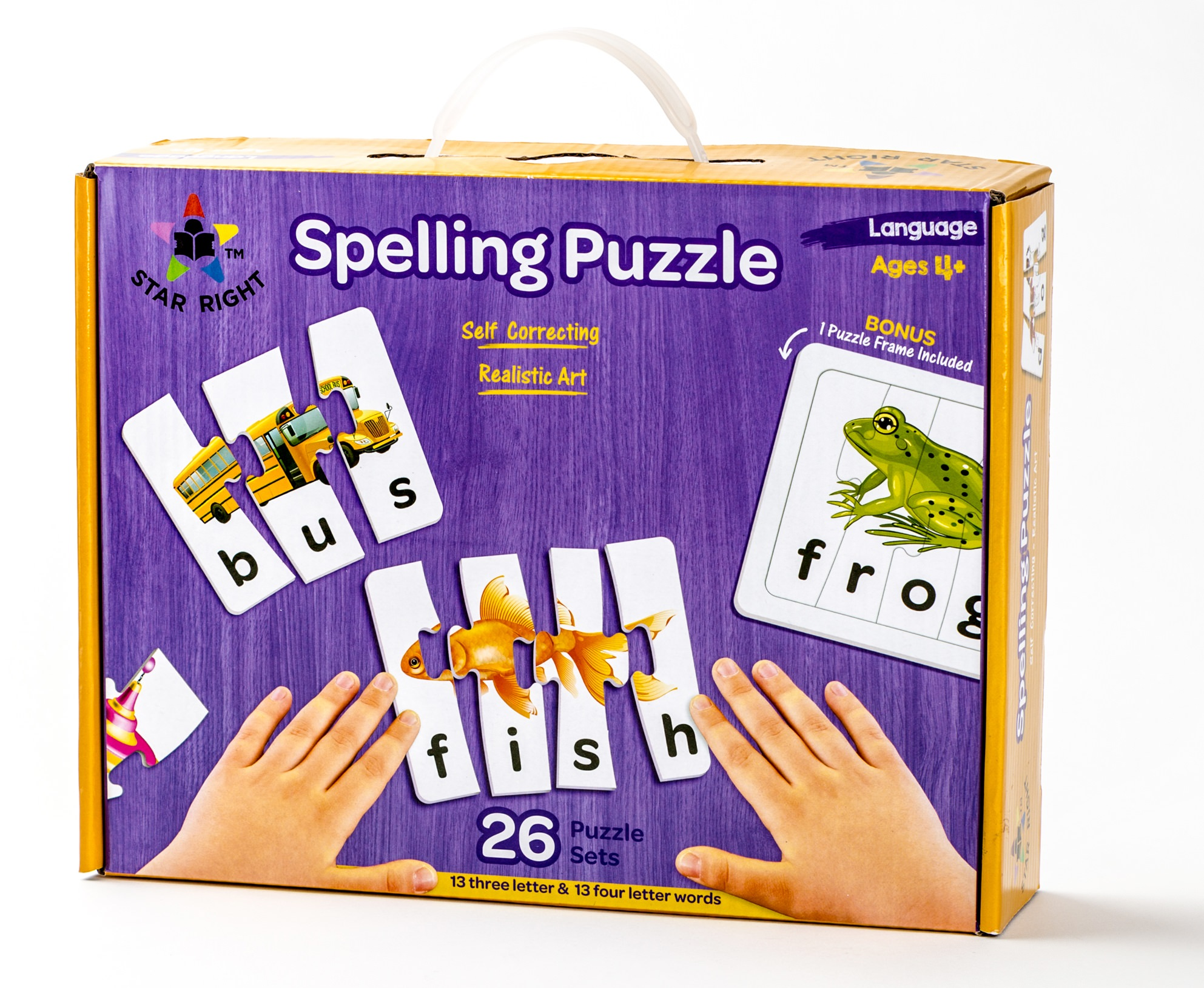 Star Right Self-Correcting Spelling Puzzle with Realistic Art to Set of 26  (52 pieces) with 1 Puzzle Frame Included