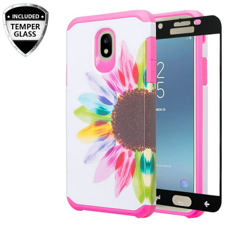 For Tracfone/StraightTalk Samsung Galaxy J3 Orbit (S367VL) Case w/[Tempered  Glass] Hybrid Shockproof Drop Protection Impact Rugged Heavy Duty Dual