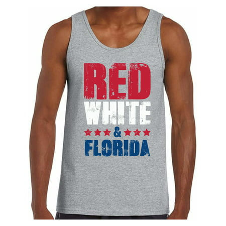 Awkward Styles Red White & Florida Tank Top for Men Florida Muscle Shirts 4th of July Tank Tops Men's America Flag Tank USA Men's Tank Top American Men Gifts from Florida Patriots Tank Top USA (Best Gifts From Florida)