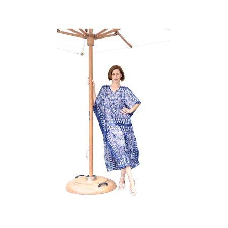 Metropolitan Women's Navy Batik Long Lounger - Printed V-Neck Silky Caftan Dress