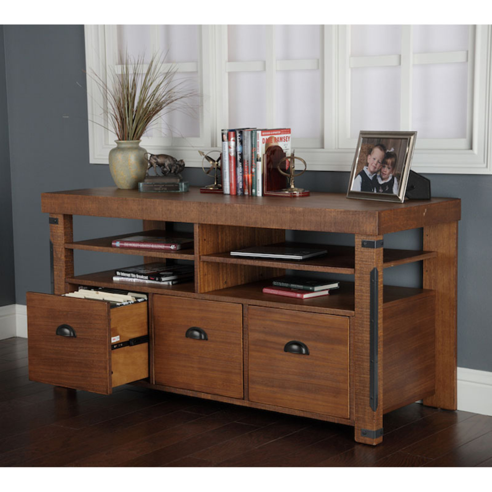 American Furniture Classics Industrial Collection Credenza and Computer Workcenter with File Drawers