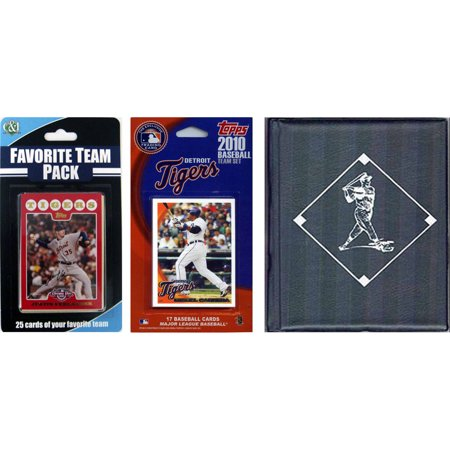 C&I Collectables MLB Detroit Tigers Licensed 2010 Topps Team Set and Favorite Player Trading Cards Plus Storage (Detroit Tigers Album)