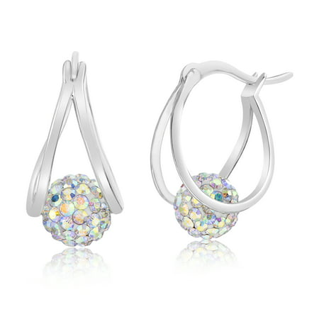 - Lesa Michele Women's Aurore Boreale Crystal Floating Ball Double Layer 20X15MM Hoop Earrings in Rhodium Plated Brass