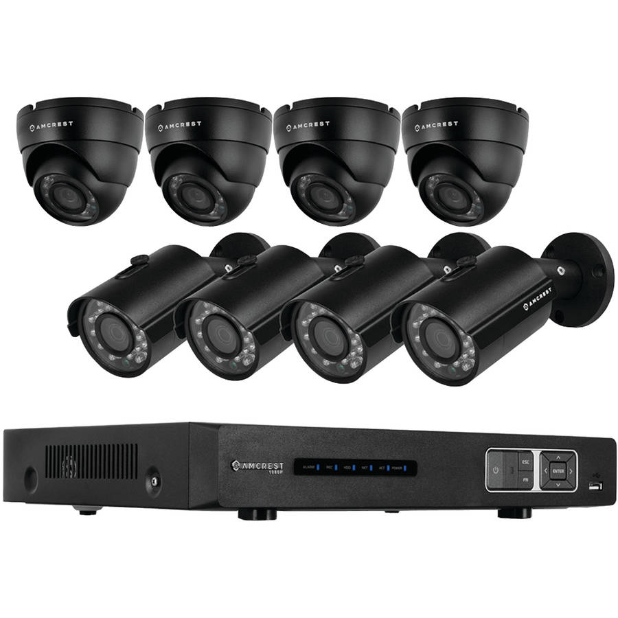 Amcrest AMDV7208M-4B4D-B 720p Tribrid HDCVI 8-Channel 2TB DVR Security System with 4 Bullet and 4 Dome 1.0-Megapixel Cameras, Black