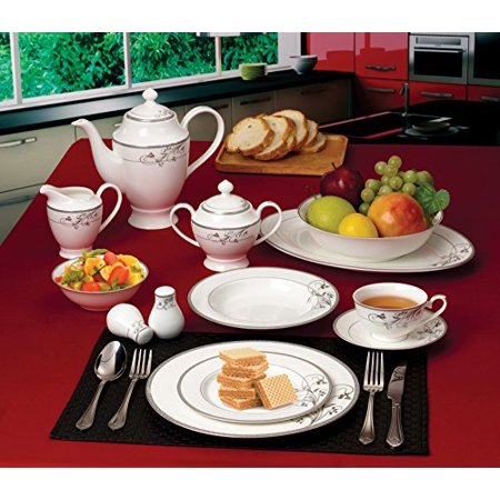 Florentine Bone China - Lorenzo 57 Piece Elegant Bone China Service for 8 Viola Dinnerware Sets, Silver