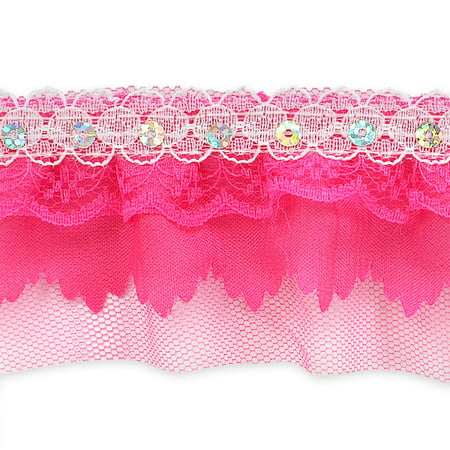 2 Piece Sequin Lace Trim (Expo Int'l 5 yards of Elenor Sequin Embellished Lace Trim 2 1/6