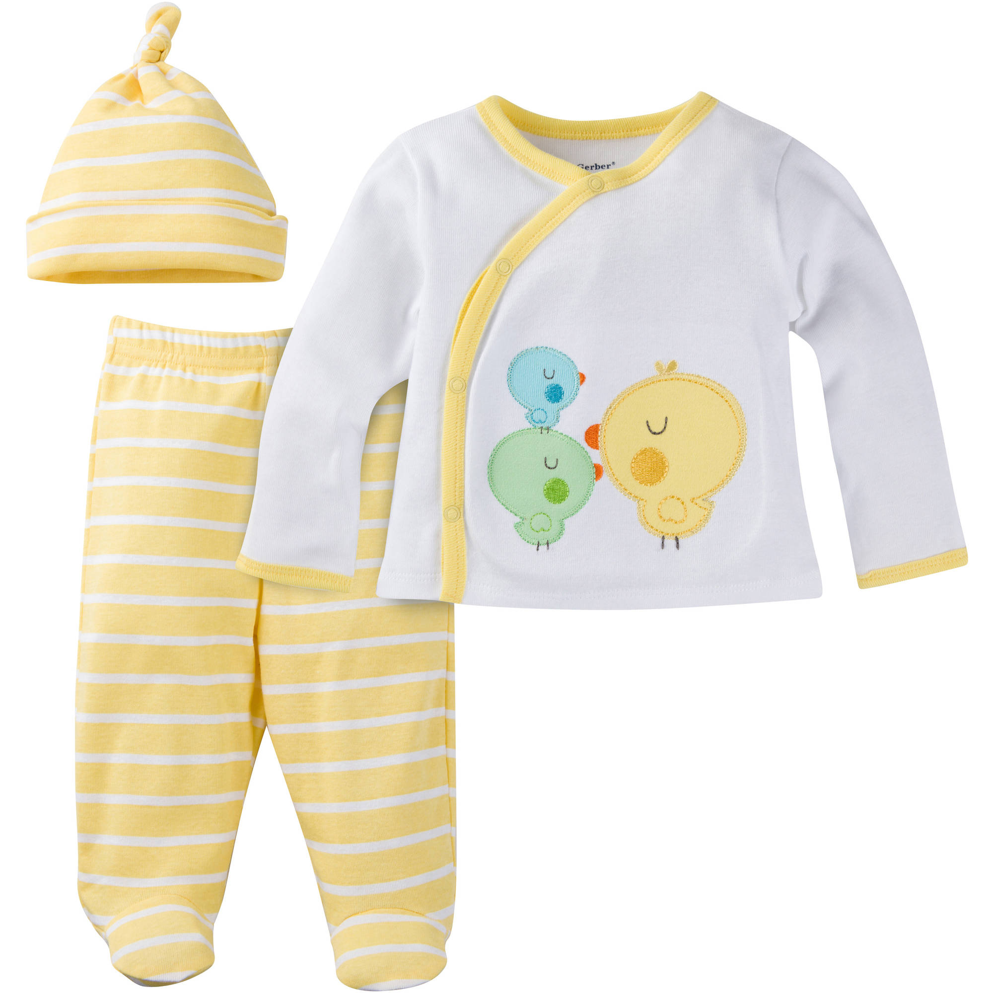 Gerber Newborn Baby Boy or Girl Unisex Take-Me-Home 3-Piece Layette Gift Set