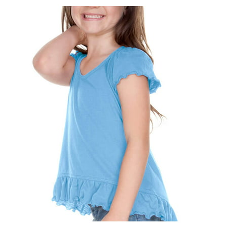 Girls 3-6X Sheer Jersey High Low Flutter Top, Style PJP0638 (Flash Shirts For Girls)