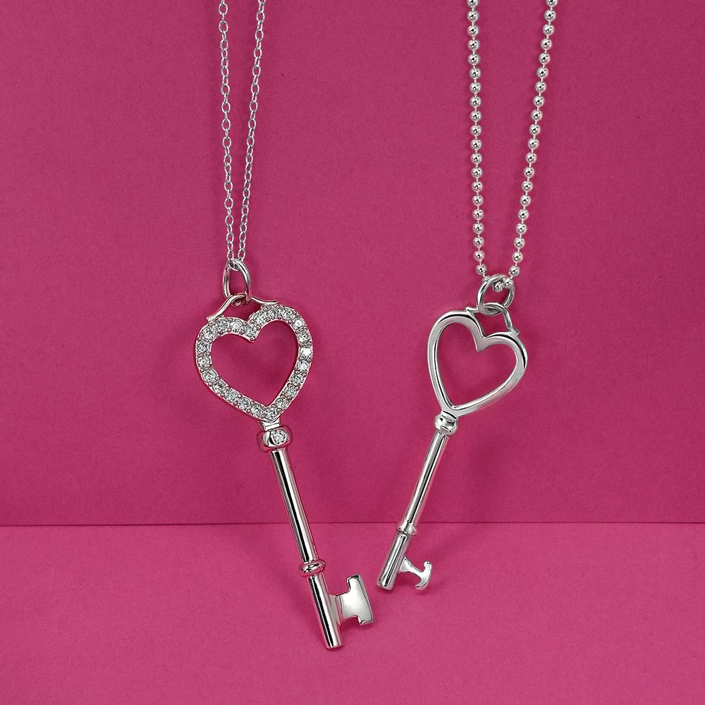 PINK CZ Heart Key .925 Sterling Silver Pendant GREAT GIFT