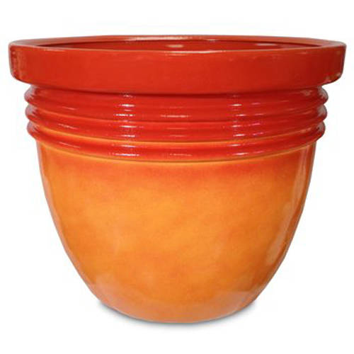 "Better Homes and Gardens 12"" Bombay Decorative Planter, Marigold"