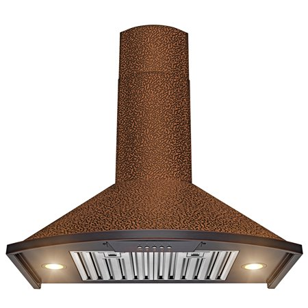 "AKDY Wall Mount Range Hood –30"" Embossed Copper Hood Fan for Kitchen – 3-Speed Professional Quiet Motor – Push Control Panel – Modern Design – Dishwasher-Safe Baffle Filters"