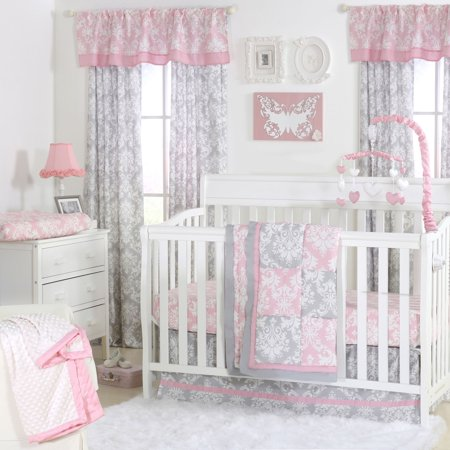 - The Peanut Shell 3 Piece Baby Crib Bedding Set - Pink and Grey Damask Patchwork - 100% Cotton Quilt, Crib Skirt and Sheet