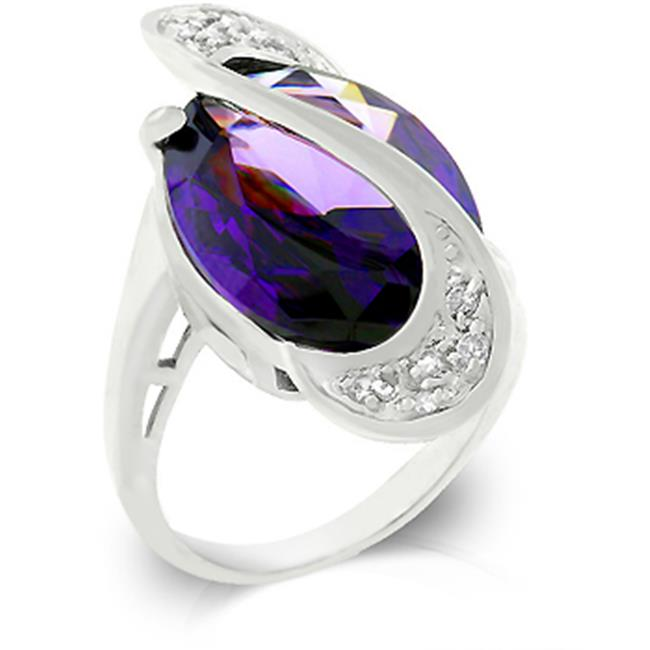 Kate Bissett R07902R-C20-07 Genuine Rhodium Plated with Large Oval Cut Amethyst Handset by a Twisting Pave Strip in