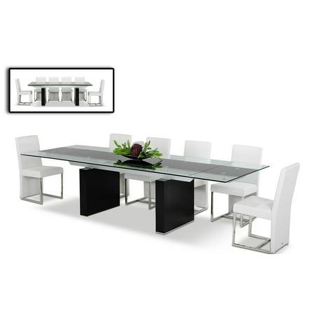 Modrest Lisbon - Extendable Glass Dining Table-Color:Other,Finish:Other,Shape_:Rectangular (Extendable Glass Dining Table)