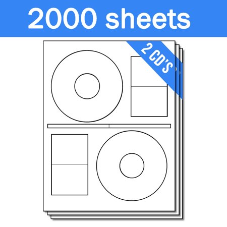 Stomper Pro Compatible Full Face DISC CD DVD Labels on Sheets with Case Pine Labels ( 2 Labels Per Sheet, White, 2000 Sheets (Cd / Dvd Label Maker)