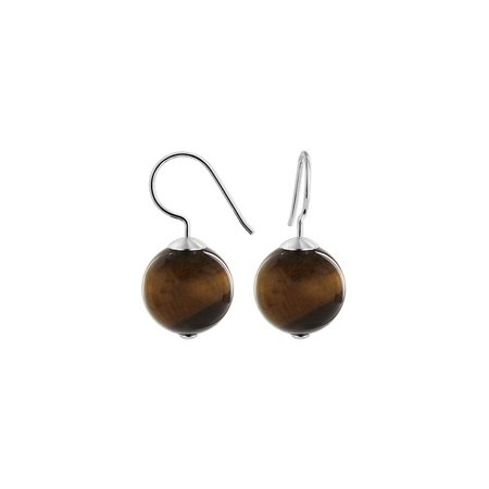 Gem Avenue 925 Sterling Silver 14mm French Wire Drop Earrings Round Grade A Tiger (Drop Tigers Eye Earrings)