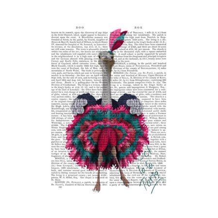 Ostrich, Can Can in Pink and Turquoise Print Wall Art By Fab Funky ()