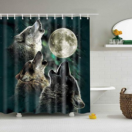 4PCs/Set Moon Wolf Bathroom Waterproof Shower Curtain 71x71