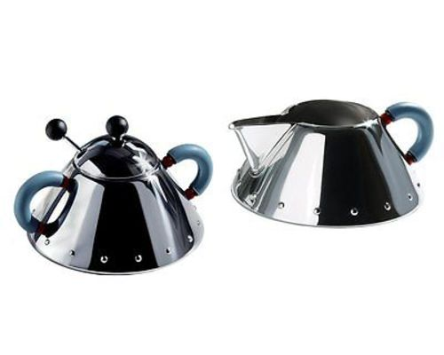 Alessi Michael Graves Series Stainless Steel Creamer & Sugar Bowl Set Blue by