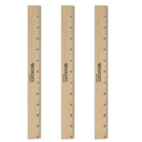 "Westcott 12"" Wood Ruler with Clear Lacquer Finish, 3pk"