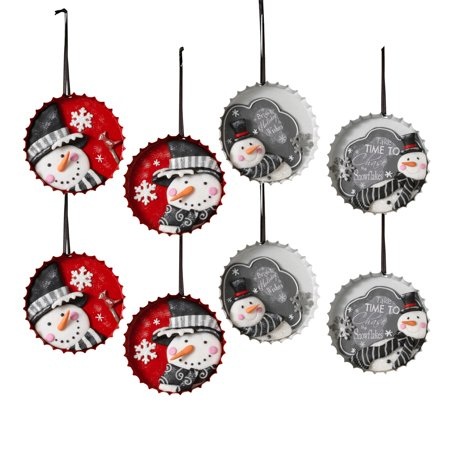 Assorted Bottle Cap Snowman Ornaments with Black Ribbon for Hanging (set of 8)