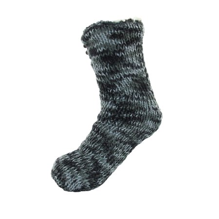 Extra Thick Soft Warm Cozy Fuzzy Thermal Cabin Fleece-lined Knitted Non-skid Crew Socks, Color 27 Black Blue (10d Thermal)