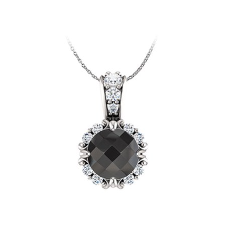 Black and White Diamonds Round Halo Pendant in 14K Gold - image 1 of 2