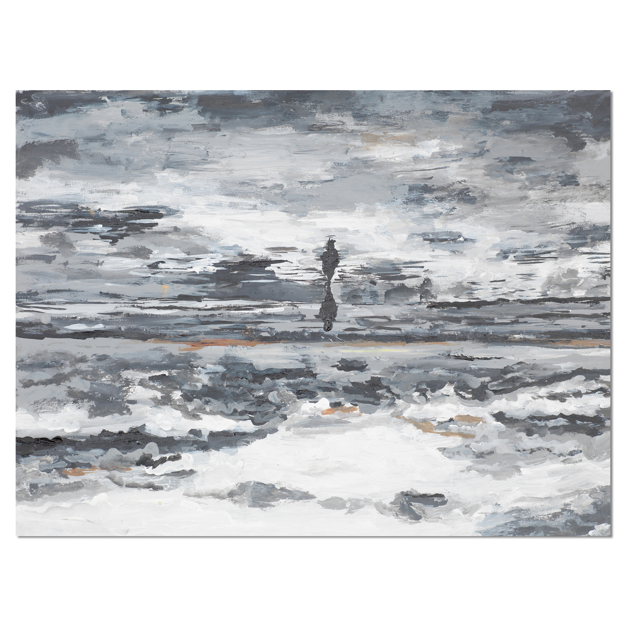 Running Horse Through Water - Abstract Canvas Painting - image 1 of 3