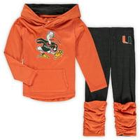 Miami Hurricanes Colosseum Girls Toddler Minerva Long Sleeve Hoodie T-Shirt and Leggings Set - Heathered Orange
