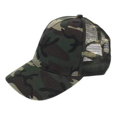 Mens Low Crown 5 Panel Camouflage Twill Mesh Trucker Hat Green Camo